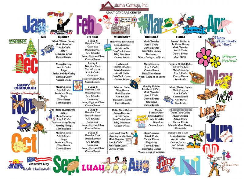 adult day services calendar activities